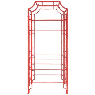 Chinese Chippendale Pagoda Faux Bamboo Iron Etagere For Sale