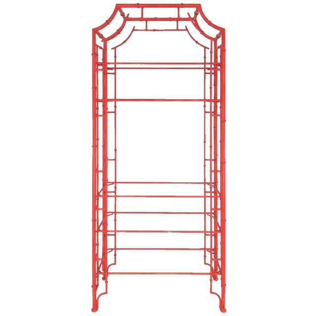 Chinese Chippendale Pagoda Faux Bamboo Iron Etagere - Image 1 of 7
