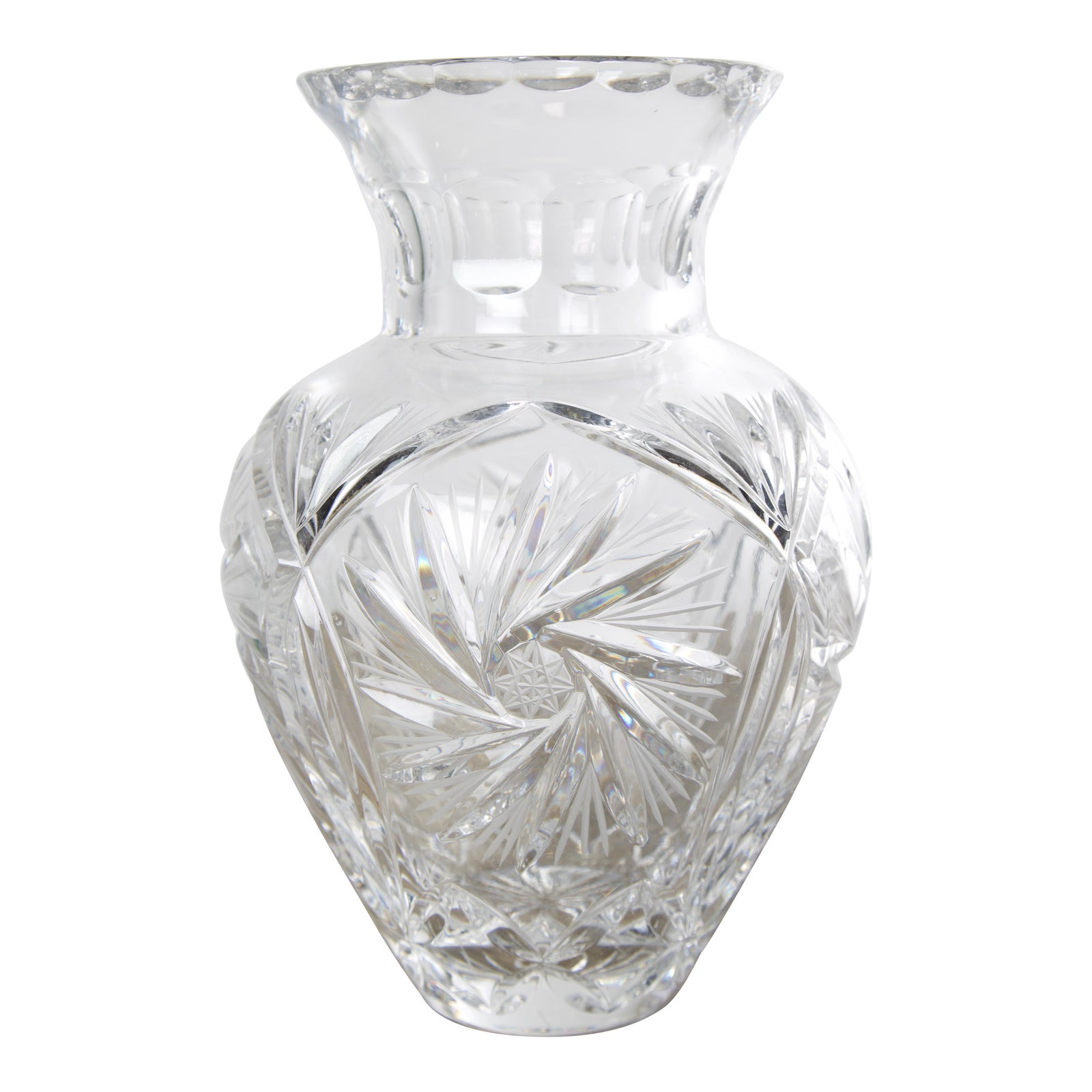1960s Vintage Crystal Vase With Pinwheel Starburst Design ...