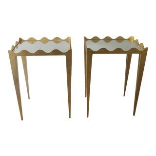 Worlds Away Gold Leaf Wave Edge Side Tables - Set of 2