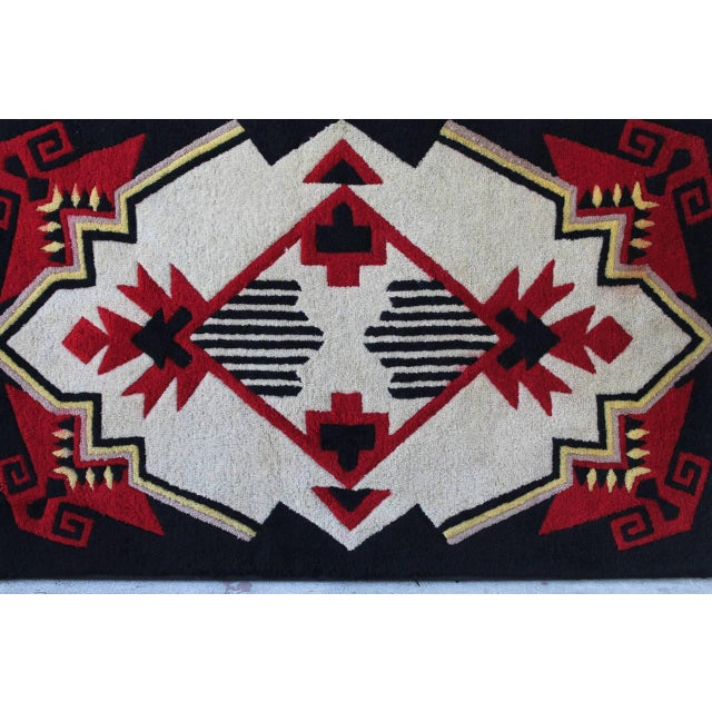 Textile 1930s Mounted Geometric Hand-Hooked Rug For Sale - Image 7 of 7