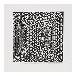 "1970s Roy Ahlgren, ""Convergent Inversions"", Op Art Screenprint For Sale"