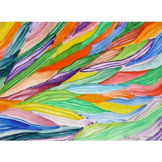 """1980 """"Rolling Colors"""" Vivid Abstract Watercolor Painting by Kemija For Sale"""