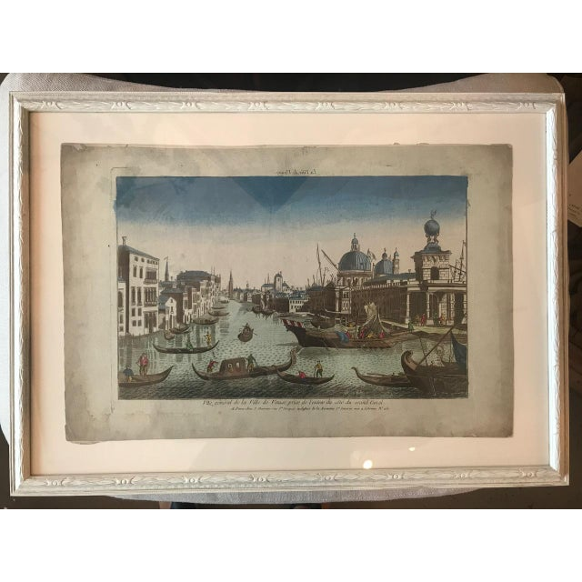 18th century Vue d'Optique hand-colored engraving of the Grand Canal, Venice in custom framing. Vue d'Optiques, a style of...