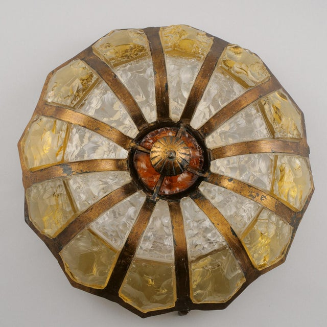 1950s Italian Mottled Glass and Bronze Round Flush Mount For Sale - Image 5 of 7