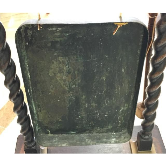 Late 19th Century Victorian Chinese Bronze and English Oak Dinner Gong For Sale - Image 5 of 11
