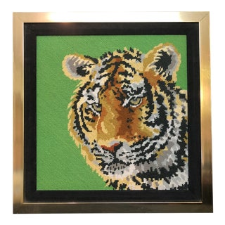 Vintage Framed Needlepoint Tiger