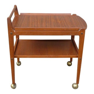 Mid-Century Modern Swedish Erik Gustafssons Teak Tea Cart W Rosewood Top
