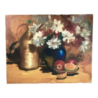 Vintage Mid-Century Oil on Canvas Still Life with Vase and Fruit Painting For Sale