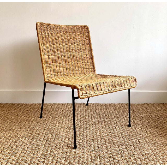 1970s Vintage Mid-Century Modern Rattan Side Chair For Sale - Image 5 of 5