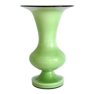 Mid-Century Green, White, and Black Cased Glass Urn Vase For Sale