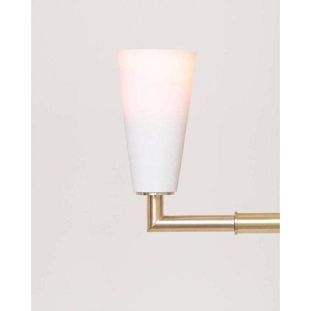 Not Yet Made - Made To Order Contemporary Grace White Porcelain Shade and Suspended Glass Sphere Brass Sconce For Sale - Image 5 of 9