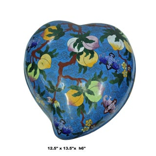 Chinese Turquoise Blue Metal Enamel Cloisonne Heart Peach Shape Box Preview