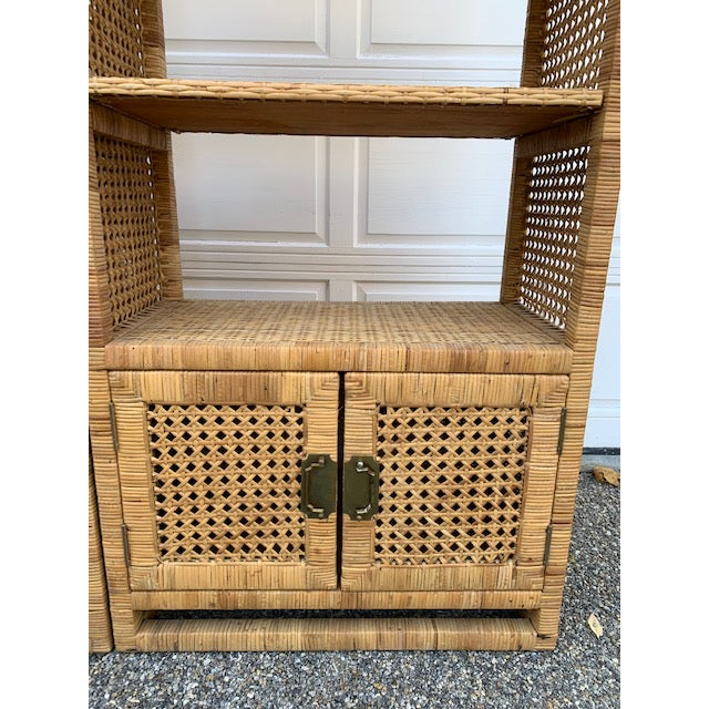 1970s 1970's Bielecky Style Rattan and Brass Bookshelves-Set of 3 For Sale - Image 5 of 13