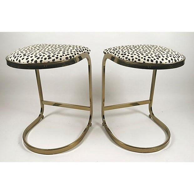 Milo Baughman Style Brass Cantilever Stools - A Pair For Sale - Image 9 of 10