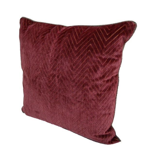"Scalamandre Scalamandré Red ""Fire Stitch"" Velvet Pillow For Sale - Image 4 of 9"