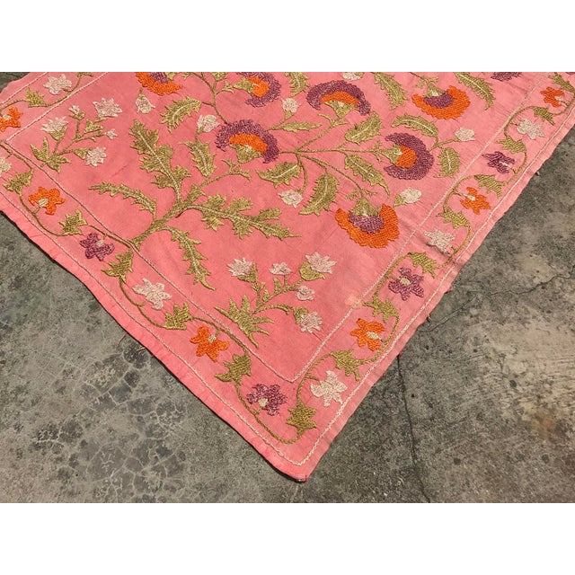Pink Silk on Cotton Floral Table Runner - Image 3 of 6