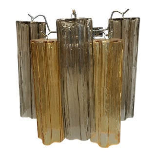 "Murano Glass ""Tronchi"" Wall Sconce in Fume Gray and Amber For Sale"