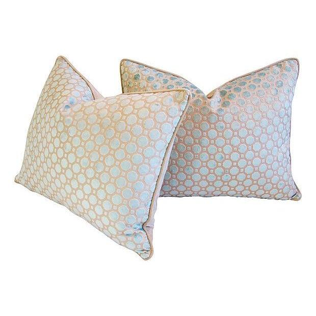 Aqua Blue Velvet Geometric Pillows - Pair - Image 7 of 7