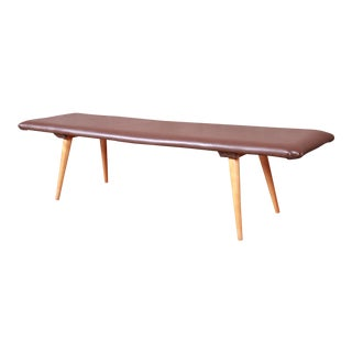 Paul McCobb Planner Group Custom Maple and Leather Bench, 1950s For Sale