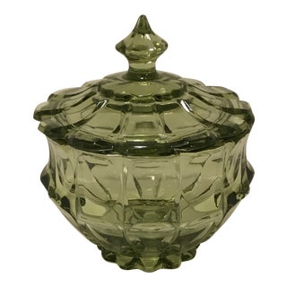 1970s Traditional Anchor Hocking Avocado Green Glass Candy Dish For Sale
