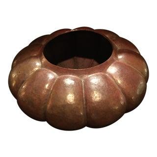 Solid Hand Hammered Copper Large Gourd Shaped Vase For Sale