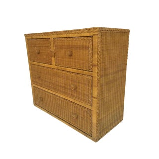 1970s Boho Chic Rattan Chest of Drawers For Sale