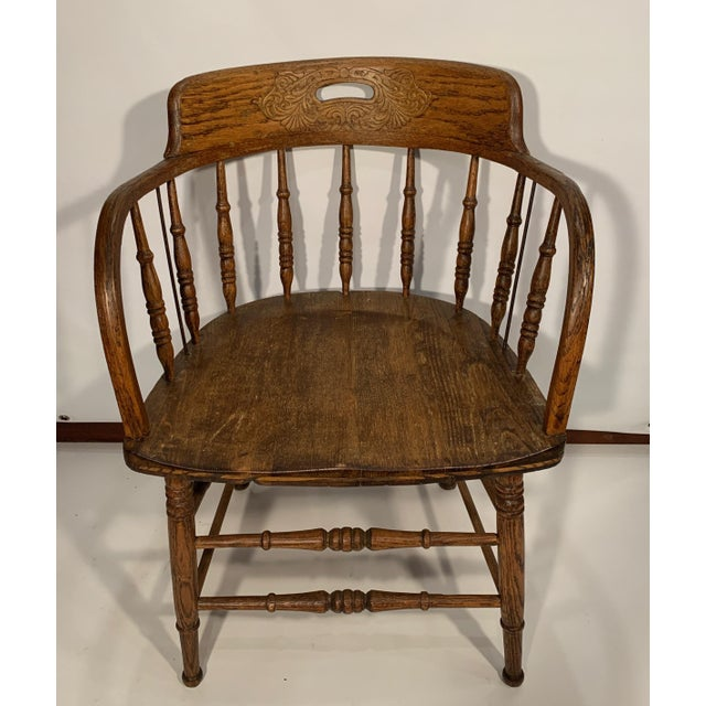 Brown Antique Oak Captain's Chair For Sale - Image 8 of 8