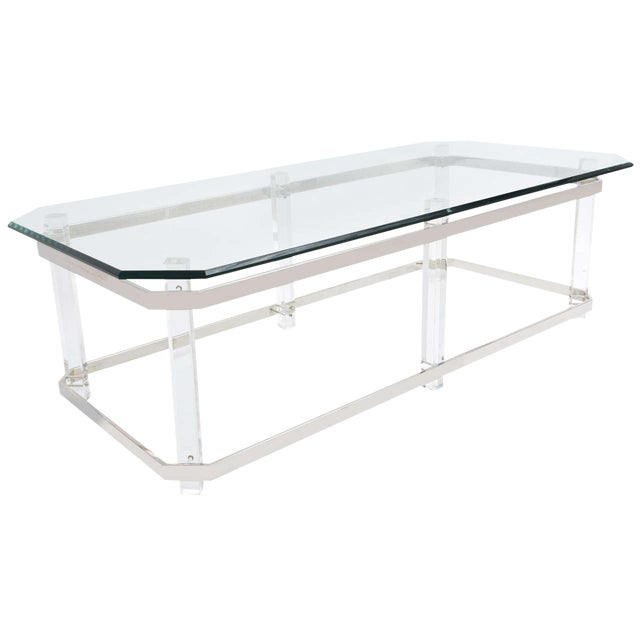 1970s Rectangular Lucite and Chrome Cocktail Table by Charles Hollis Jones For Sale