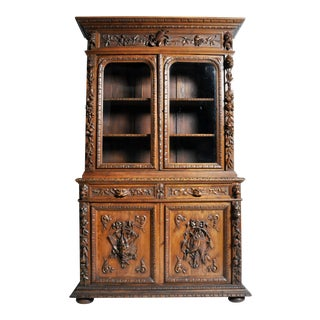 "French ""Black Forest"" Style Hunting Oak Buffet Cabinet For Sale"