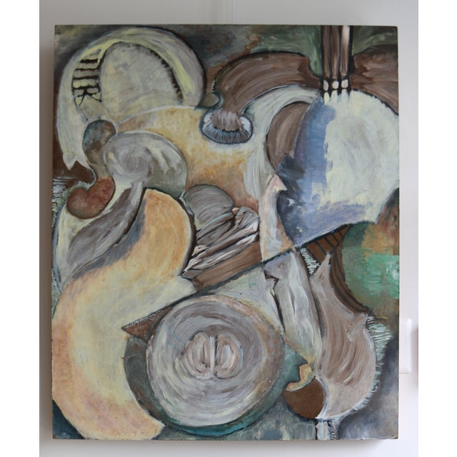 Executed in a style reminiscent of analytic cubism, this lovely oil on panel painting is filled with movement and shape....