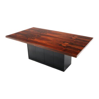 Rosewood Black Lacquer Leaf Storing Single Pedestal Dining Table Harvey Probber For Sale