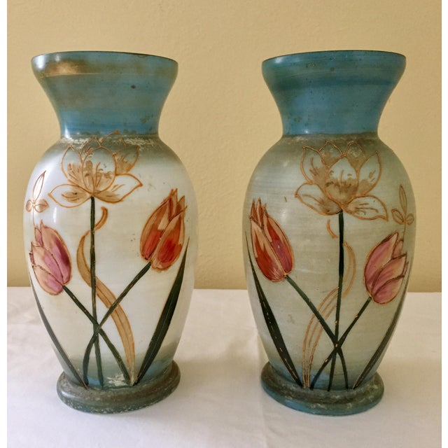 Bristol Hand Painted Glass Vases A Pair Chairish
