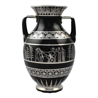 Rare Rockwell Art Deco Period Greek Revival Silver Overlay Black Glass Vase For Sale