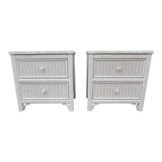 Henry Link Lexington White Wicker Nighstands - a Pair For Sale