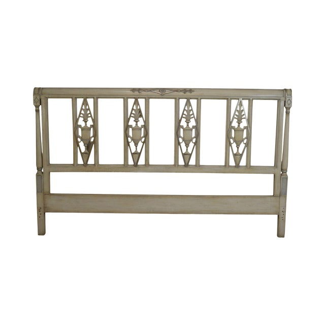 French Regency Directoire Style Vintage Custom Painted King Headboard For Sale