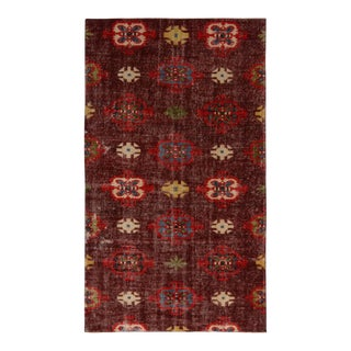 Vintage Mid-Century Purple and Red Geometric Wool Rug- 3′10″ × 6′8″ For Sale
