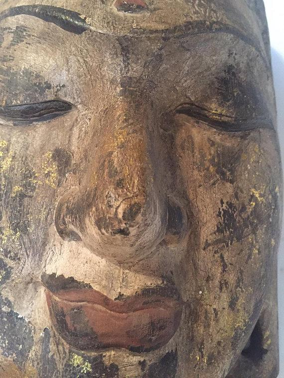 Vintage Wood Carved Buddha Head Indonesian Wall Mask - 14 inch - Image 8 of 11  sc 1 st  Chairish & Vintage Wood Carved Buddha Head Indonesian Wall Mask - 14 inch ...