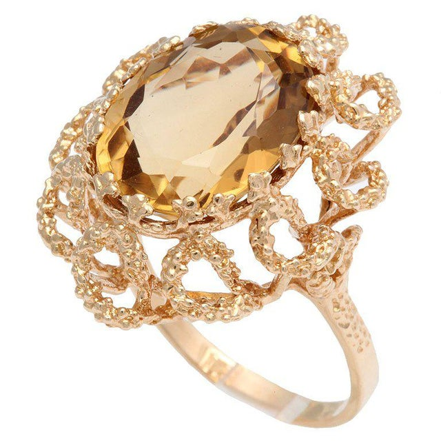 Crystal 60's Brutalist Citrine Melted Gold Swirls Cocktail Ring For Sale - Image 7 of 7