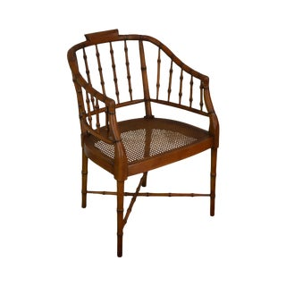 Faux Bamboo Custom Quality Carved Back Armchair For Sale