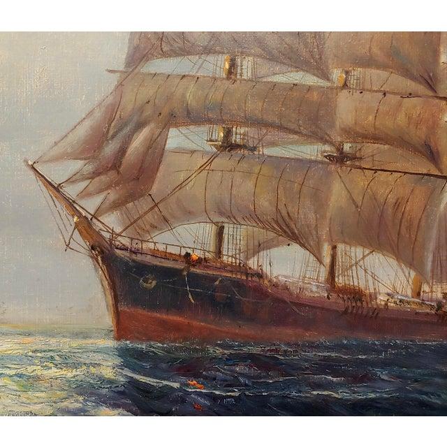 "19th Century Daniel Sherrin the Elder ""Clipper Ship"" Seascape Oil Painting, 19th Century For Sale - Image 5 of 10"