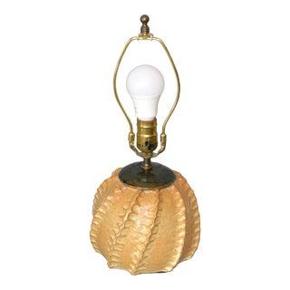 Hanson Mid-Century Modern Beige & Black Glazed Pottery Earthenware Table Lamp For Sale