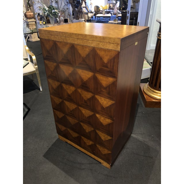Art Deco Hollywood Regency Maitland-Smith Carved & Tooled File Cabinet For Sale - Image 3 of 13