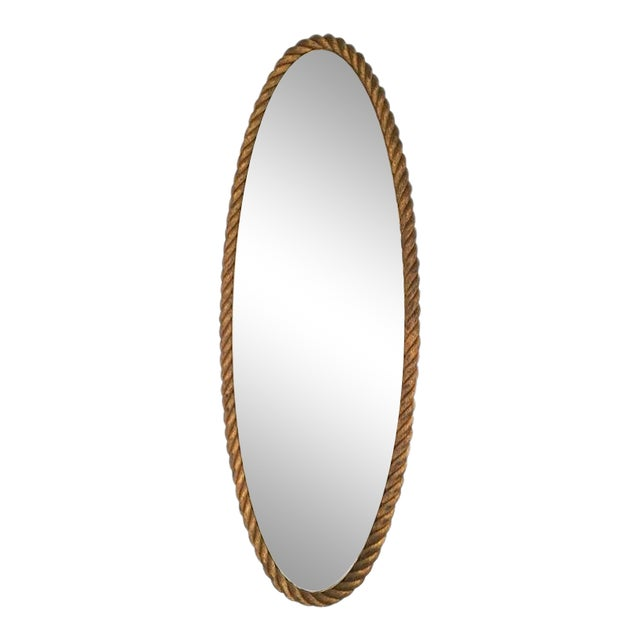 French Riviera Very High Gilt Rope Pure Mirror in Good Vintage Condition For Sale
