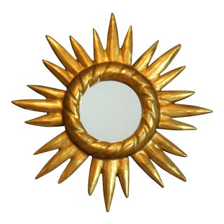 Mid Century French Carved Wood Sunburst Mirror For Sale