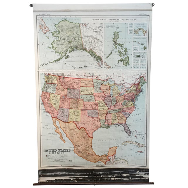 United States Mexico Pull Down Map 1930s Chairish