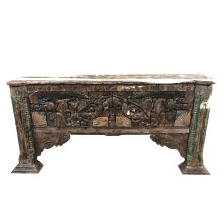 1920s Asian Antique Media Console Table Rustic Wooden Hall Table For Sale