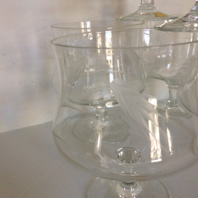 1960s Sasaki Noritaki Mid-Century Modern Wheat Patterned Crystal Brandy Cocktail Glasses - Set of 6 For Sale - Image 5 of 13