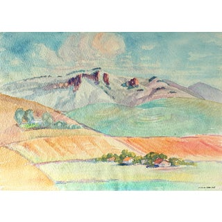 Sadie Van Patten Hall California Landscape Watercolor Painting, Circa 1950s For Sale