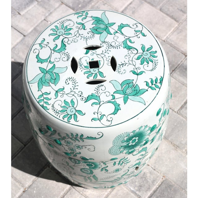 White Green and White Garden Stool Table With Hand-Painted Flowers and Vines For Sale - Image 8 of 12